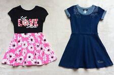 Guess & Justice Girls Dresses Size 7/8, Blue Denim, Black & Pink Floral Gems