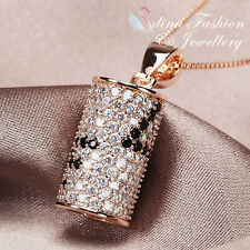 """18K Rose Gold Plated Full Diamond Studded Word """"Love"""" Luxury Round Necklace"""