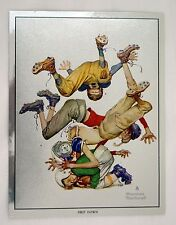 Vintage Norman Rockwell First Down Sporting Boys Football Foil Etch Print