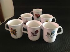 J & G MEAKIN 6x SMALL CUPS, FLOWER DESIGNS ON BOTH SIDES OF EACH CUP.