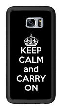 Black Keep Calm and Carry On For Samsung Galaxy S7 G930 Case Cover by Atomic Mar