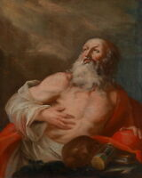Handpainted Oil painting male portrait St. Jerome in The wilderness on canvas