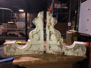 """pair vintage Victorian age corbel porch brackets 1880 15"""" x 13"""" x 3.75 old white"""