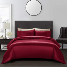 AiMay 3 Piece Duvet Cover Set Bedding Sets Luxury Rich Silk Satin Silky Super So