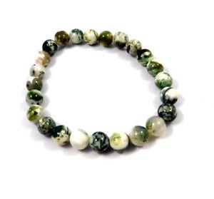Natural Tree Agate For Men & Women 1 Stretch Bracelet 6 MM Round Handmade Beads