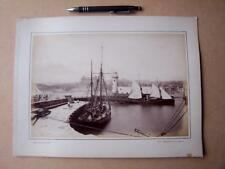 Scarborough  Lighthouse & Pier    . Victorian Photograph mounted on album card