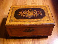 New listing Antique Wood Inlaid Long Gun Hunting Accouterment Bag Document Sewing Box Rare