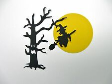 Halloween Theme Wicked Tree/Witch/Moon silhouette style Cardstock Die cut Cards