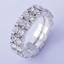 Womens Stretch Stackable Crystal Rings Size 6 Gold Filled Silver Band Jewelry