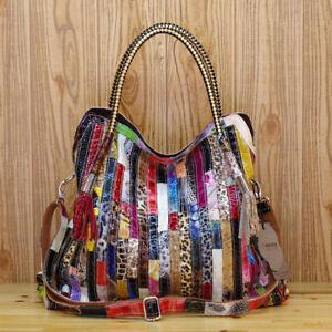 Women's Genuine Leather Snake Stripes Colorful Handbag Shoulder Satchel Tote Bag
