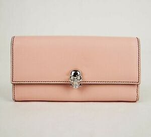 Alexander McQueen Pink Leather Continental Trifold Wallet 554191 5501