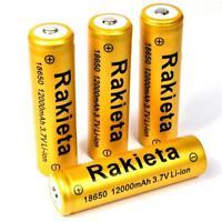 4 x RAKIETA gold 10800 mAh Lithium Ionen Akku 3,7 V  Typ 18650 Li  - ion je 45 g