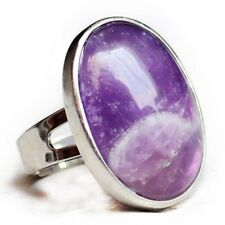 100% Genuine Jewelry Mystical Purple Amethyst Gemstone Silver Adjustable Rings