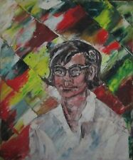 1966 Original Oil Painting 60's Vintage Portrait Colorful Art - Jesse Minkert
