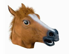 New Funny Latex Animal Adult Costume Horse Head Mask Fancy Dress Stag Hen UK