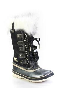 Sorel Womens Joan of Arctic Faux Fur Trim Leather Mid Calf Boots Black Size 8