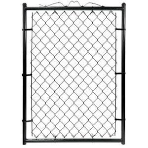 "Large 4' x 3'3"" Flat Top Black Galvanized Steel Chain Link Fence Wide Walk Gate"