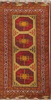 Geometric Oriental Balouch Afghan Area Rug Wool Hand-Knotted Gold Carpet 4x7