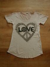 Rich&Royal T-Shirt Longshirt Leinen Taupe Aufdruck Pailletten Love Gr.S Gr.36