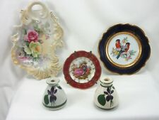 VINTAGE 5 PIECE LOT LIMOGES REHAUSSE PLATE 2 DEVON VIOLETS PERFUME HAND PAINTED!