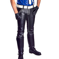 Men's Real Cowhide Leather Pants Double Zipped With Colour Piping Leather Pants