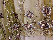 Bridal Wedding Green Sequin Floral Embroidered Green Net Lace Fabric BTY