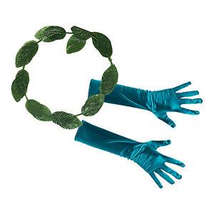 Women's Ladies Poison Ivy Fancy Dress Accessories - Gloves & Leaf Headband
