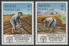 LAOS N°436/437** Journée mondiale de l´alimentation  TB, 1982 SC#411-412 MNH