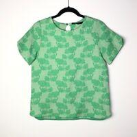 Zara Basic Size Small Crew Neck Short Sleeve Green Floral Jaquard Shirt
