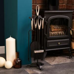 5 Piece Companion Set Black Nickel Fireside Fire Tools Vintage By Home Discount