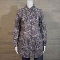Coldwater Creek Misses XS 4 Paisley Pintuck Open Work LS Button Up Tunic Shirt