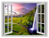 Iceland Waterfall Beautiful Window Poster 3D Art Wall Sticker Vinyl Decal Mural