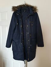 H & M LADIES WINTER WARM  LONGLINE HOODED COAT SIZE S / NAVY BLUE