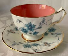 LOVELY AYNSLEY CORAL & WHITE FOOTED CUP & SAUCER, BLUE FLOWERS, EXCELLENT COND