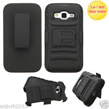 For Samsung Galaxy Core Prime Prevail LTE G360 Hybrid Case w/Stand+Holster Black