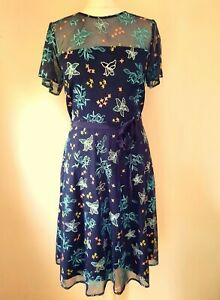 MONSOON navy blue FLORAL EMBROIDERED MESH 50's STYLE SATIN LINED DRESS 12 40 NEW