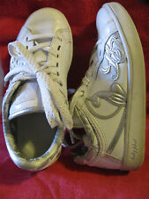 Baby Phat Sneakers Ladies US Size 5.5 Genuine Leather White/Silver Shoes