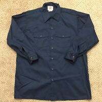 Dickies Mens 17-17.5 Blue Long Sleeve Button Front Work Shirt
