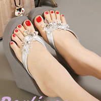 Womens Rhinestones Crystal High Heel Sandals Thong Slippers Wedge Flip Flop Hot
