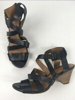 WOMENS CLARKS ARTISAN BLACK LEATHER STRAPPY HIGH HEEL SANDALS SHOES UK 5 D EU 38