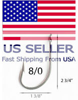 10 Stainless Steel 7732 Mustad Type 3x Big Game Fishing Hooks Tuna USA seller