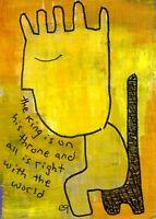 21021306 e9Art ACEO King Abstract Figurative Outsider Folk Art Brut Painting ATC