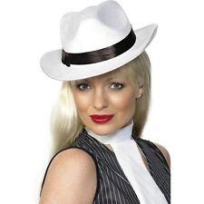 "1920s ""0s White Velour Gangster Gangsta Hat Ladies Womens Fancy Dress Accessory"