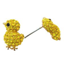 Navachi Chicken Poult 18K GP Yellow Crystal Ear Stud Earrings BH1011