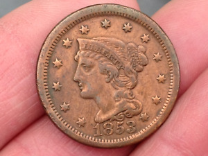 USA AMERICAN 1853 LARGE COPPER ONE CENT COIN INDIAN LIBERTY HEAD BRAIDED HAIR NR