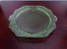 Green Depression Uranium Vaseline Glass Cake Plate - Princess Pattern/Hocking