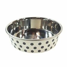 2 X LARGE STAINLESS STEEL RUBBER POLKA DOT FOOD WATER DOG PET BOWL