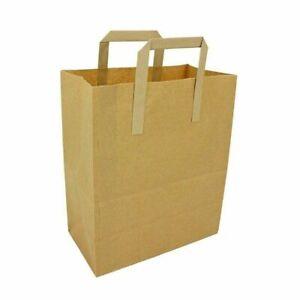 Brown Kraft Paper SOS Food Carrier Bags With Handles Party Takeaway