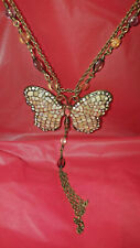 Silver diamond dust rhinestone large Fringe butterfly beaded necklace