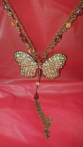 Silver diamond dust rhinestone large Fringe butterfly beaded necklace